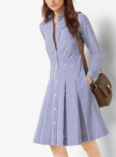 Crafted from crisp cotton-poplin, this striped shirtdress descends into a pretty pleated silhouette for a feminine effect. Finish this style with classic flats or pumps. Vestido Michael Kors, Simple Dresses, Casual Dresses, Dress Outfits, Fashion Dresses, Striped Shirt Dress, Pleated Shirt, Marine Uniform, Frack
