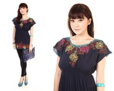 Bellan Blue Embroidery Top