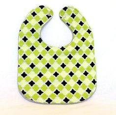 Baby Bib  Modern Baby Bib  Green Grey and Black by PetiteChalet, $10.00