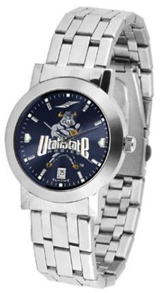 Utah State Aggies Dynasty AnoChrome Men's Watch by SunTime. $92.11. Elegant design for the modern man who wants to show their Utah State Aggies spirit! The dial is presented in a sleek, stainless steel case and bracelet that rests fashionably yet comfortably across the wrist. Features a convenient date display, quartz accurate movement and a scratch resistant mineral crystal face.The AnoChrome dial option increases the visual impact of any watch with a stunning radial reflec...