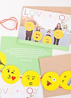 Our playful holiday cards from Minted + cute and easy DIY emoji garland.