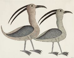 By Kenojuak Ashevak (1927-2013), ca 1991, Two Birds, coloured pencil and black felt pen over graphite, Canadian Inuit.