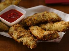 Parmesan Garlic and Herb Chicken Tenders - sub greek yogurt for the mayo and use less cheese