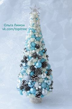 Just a picture, no directions, but would make a pretty diy project. Cone Christmas Trees, Jewelry Christmas Tree, Handmade Christmas Tree, Christmas Tree Crafts, Christmas Minis, Blue Christmas, Xmas Tree, Christmas Projects, Christmas Holidays