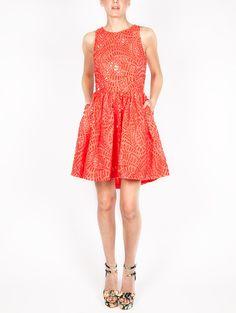 MSGM Laser Cut Full Skirt Dress
