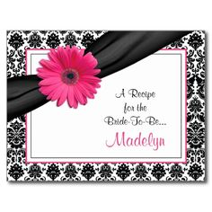 Damask Pink Gerber Daisy Recipe Card for the Bride Postcard