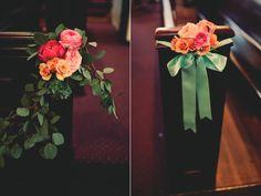 Pew decorations! // Handcrafted Brooklyn Wedding #wedding #churchwedding