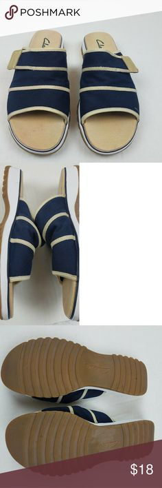 50d9b2c72cf6 Womens Clarks Canvas Sandals 8W Womens Clarks Canvas Sandals Navy Blue Slip  On Shoes Size 8