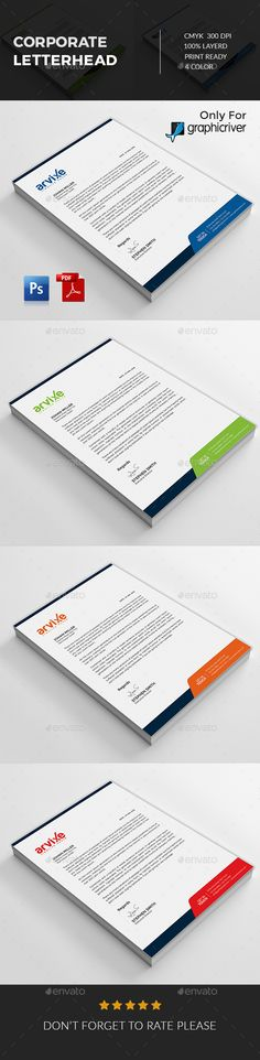Corporate letterhead Design A4 Template PSD, MS Word Letterhead - psd letterhead template