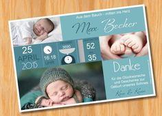 Danksagung Danksagungskarten Geburt Taufe mit Foto von Ausgefallene Fotokarten auf DaWanda.com