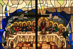 Last Supper - Stained Glass Last Supper Art, In Remembrance Of Me, Church Windows, Biblical Inspiration, Sacred Art, Stained Glass, Catholic Churches, Crystals, Movie Posters