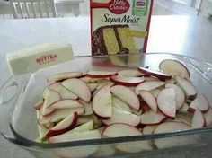 Apple dessert in 9 X 13 inch pan 5 to 7 apples sliced 1(9oz) yellow cake mix sprinkled over apple's 1 T cinnamon and 2 T sugar mixed and then sprinkled over cake mix. 1 stick of real butter melted ( may use 1 1/2 sticks) poured over top. Bake at 350 degrees for 30 min until browned.   Ovens vary.