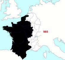 Histoire de France — Wikipédia. Carte dynamique illustrant la formation territoriale de la France métropolitaine de 985 à 1947.