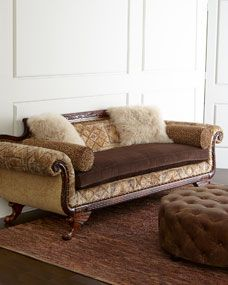 Old Hickory Tannery Jenevieve Sofa from Horchow... Great way to add some Western flair... Or for Mountain / western retreat.