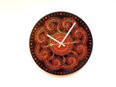 Round Clock Kitchen Clock Art Clock Orange Clock by Crystallika