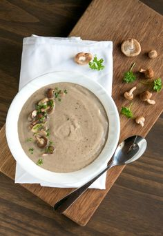 You'll never go back to the canned stuff once you try this super easy Homemade Cream of Mushroom Soup - Ready in just 20 min, vegetarian and with tons of flavor, it's the best soup EVER! Recipe by The Petite Cook - www.thepetitecook.com