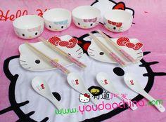 Hello kitty凯蒂猫骨瓷餐具碗 韩式碗瓷碗 卡通14件套 送礼促销-淘宝网