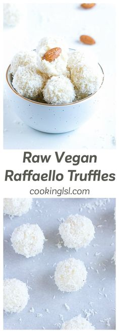 Raw Vegan Raffaello Truffles Recipe- a healthier, quilt-free version of a popular candy. Made with cashews, coconut cream, coconut oil, maple syrup, shredded coconut and raw almonds. via @cookinglsl