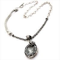 Gem Kingdom sterling silver necklace with a vintage glass cameo pendant.