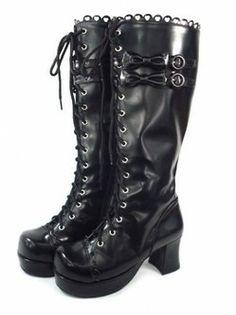 Fancy  Black Bandage Bow PU Lolita Boots