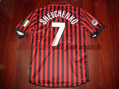 Retro AC Milan Andriy Shevchenko 7 Centenary Serie A Match Issue Home  Soccer Jersey Adult Size Small Medium Large Extra Large