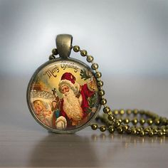 Christmas Necklace Christmas Jewelry Santa by bluerosebeadery