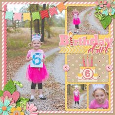 Layout by SugarBabe Nikki Words and Pictures Templates 9 by Misty Cato Birthday Girl by Amber Shaw Birthday Scrapbook Layouts, Scrapbook Page Layouts, Paper Bag Scrapbook, Scrapbook Cards, Baby Girl Scrapbook, Kids Scrapbook, Travel Scrapbook, Recipe Scrapbook, Creative Memories