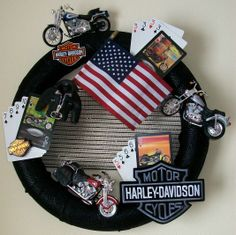Poker Run Wreath - If you like Harley Davidson motorcycles, this is wreath is ideal. Fun, patriotic - a rider's classic piece.