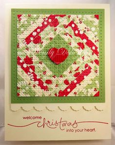 handmade card: Christmas Quilt by Wdoherty ... strip quilt pattern with a heart in the middle ... embedded embossing with the lattice embossing folder ... like the way she finished the card with layering and piercing and scalloped edge ... luv it! ... Stampin'Up!