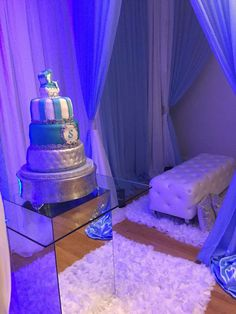 Awesome white,blue and silver baby shower!   CatchMyParty.com