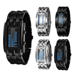 Luxury LED Electronic Blue Binary led Displayer Luminous Sports Watches Men Women Stainless Steel Men Watch Analog Digital FD# //Price: $US $7.89 & FREE Shipping //     #hashtag3