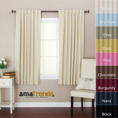 Solid Thermal Insulated Back Tap Blackout Curtain