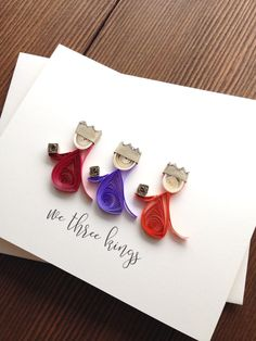 We Three Kings (Quilling) Neli Quilling, Paper Quilling Cards, Paper Quilling Patterns, Quilled Paper Art, Quilling Paper Craft, Quilling Christmas, Christmas Cards To Make, Christmas Paper, Xmas Crafts