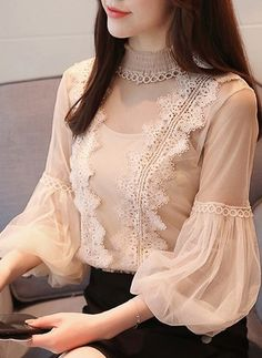 Hot women's clothing lantern sleeve lace tops shirt blouse l Lace Tops, Chiffon Tops, Chiffon Shirt, Chiffon Blouses, Lace Chiffon, Hijab Fashion, Fashion Dresses, Korean Fashion, Sleeves Designs For Dresses