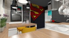 pop art kitchen, colorful kitchen, modern kitchen Kitchen Art, Kitchen Colors, Kitchen Modern, Pop Art, Kitchen Appliances, Cabinet, Storage, Furniture, Home Decor