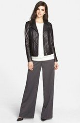 Chelsea28 Leather Jacket, Embroidered Sweater & Wide Leg Pants