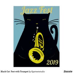 Shop Black Cat Fest with Trumpet Poster created by figstreetstudio. Cat Wedding, Cat Wallpaper, Jazz Music, Custom Posters, Custom Framing, Art For Kids, Street Art, Art Pieces, Batman