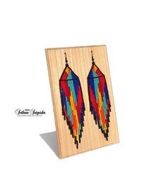 Huichol earrings Indian earrings Native american Beaded earrings American indian Colorful earrings T Seed Bead Jewelry, Seed Bead Earrings, Diy Earrings, Diy Jewelry, Beaded Jewelry, Hoop Earrings, Jewelry Making, Gold Jewellery, Jewelry Accessories