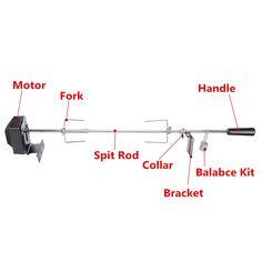 Outdoor BBQ Rotisserie Spit Grill Roaster Rod Chicken Motor Stainless Steel Kit