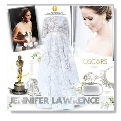 """Best Actress, Jennifer Lawrence"" by desert-belle ❤ liked on Polyvore featuring Oscar de la Renta, Trilogy, Gattinoni, Giuseppe Zanotti and Alexander McQueen"