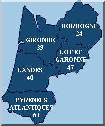 les départements en Aquitaine