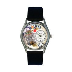 Whimsical Watches Casino Black Leather Watch ($12) ❤ liked on Polyvore featuring jewelry, watches, leather jewelry, handcrafted jewelry, hand crafted jewelry, whimsical watches and handcrafted jewellery