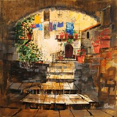 Gallery of Works Farm Paintings, Paintings I Love, City Painting, Painting & Drawing, Mike Bernard, Collage Art Mixed Media, Art Furniture, Amazing Art, Graphic Art