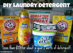 Try this great recipe to get about a year's worth of homemade laundry detergent for less than $25! #DIY