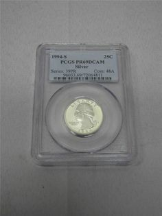 PCGS PR69DCAM Silver Washington Quarter 1994-S - EBay price $24.99 + free shipping