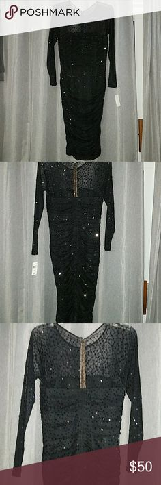 Black Sequence Dress Black long sleeve beautiful dress. Sleeves, upper chest and upper back is see threw. Dress is about mid length. Never worn Absoutely brand new. Bought for a special occasion that was cancelled. Please make me an offer!! Tadashi Shoji Dresses Long Sleeve