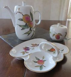 3 Pieces Royal Worcester Evesham Gold Rim China - Tall Teapot, Sugar Bowl, Tray #RoyalWorcester
