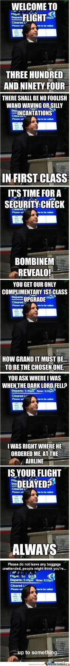 Snape look-alike flight attendant meme. brilliant.