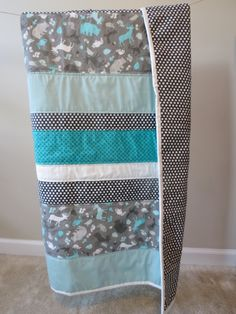 Baby quilt Toddler quilt Modern Teal White Animal by AandEQuilts