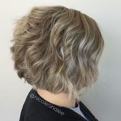 Ashy blonde, bob, beachy bob, curled bob, short hair, blonde and brown highlights and lowlights